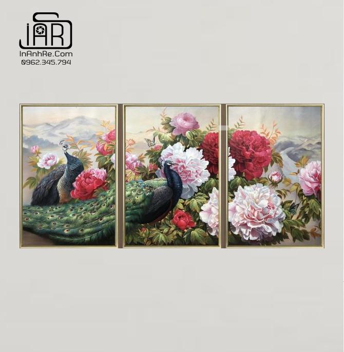 Tranh hoa mẫu đơn bộ