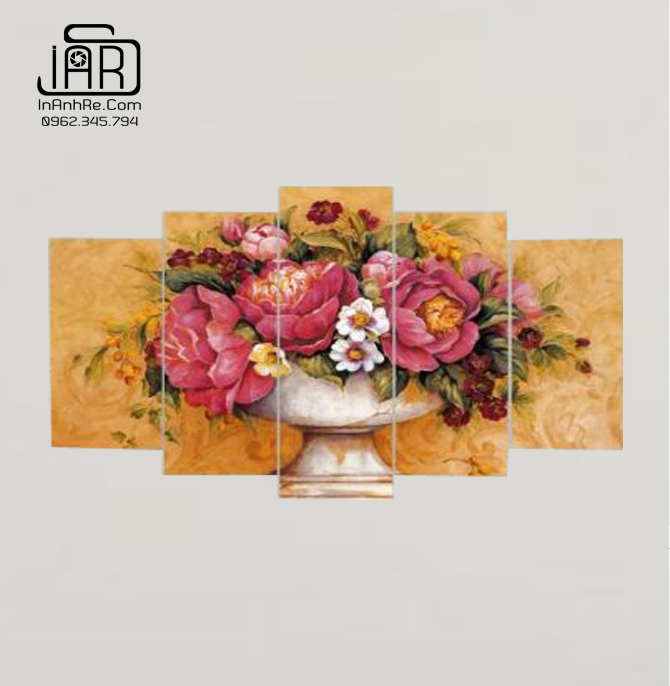 Tranh hoa mẫu đơn bộ 5 tranh